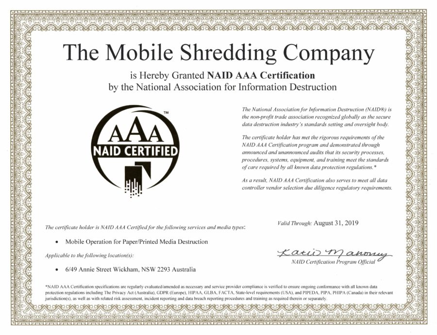The Mobile Shredding Company NAID AAA Certificate 2019